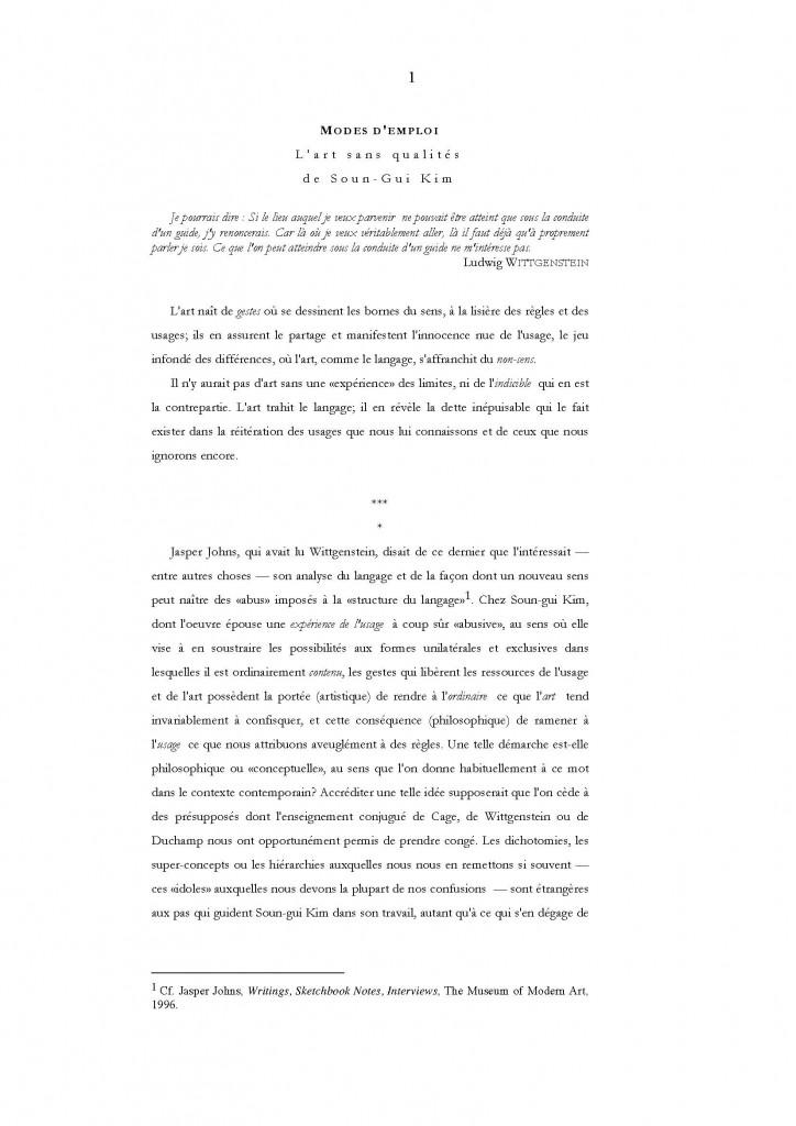 Jean-Pierre Cometti modes d'emploi - l'art sans qualités de Soun-Gui Kim Figures du vague et de l'indéterminé 1999 Edition Farrago