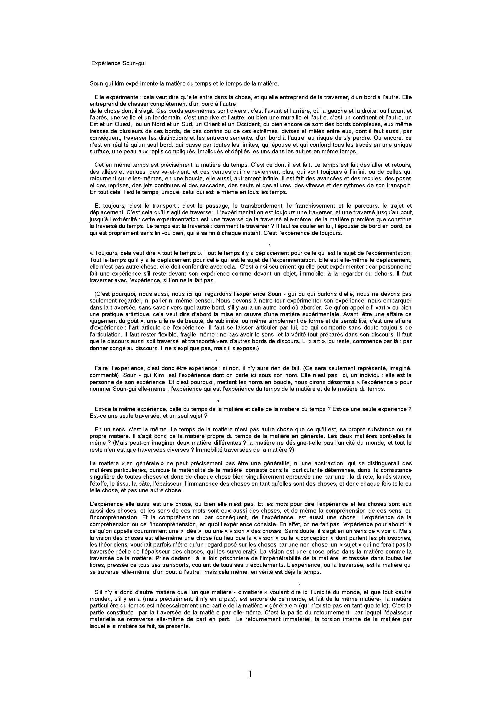 Jean-Luc Nancy Expérience Soun-gui 1997 Sock-Jon Monographie II – Soun-Gui Kim